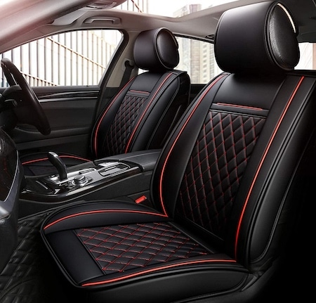 Faux Leatherette Automotive Vehicle Cushion Cover for Cars SUV Pick-up Truck Universal Fit Set for Auto Interior Accessories OASIS AUTO OS-001 Leather Car Seat Covers Front Only, Black//Red