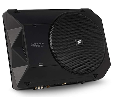 JBL BassPro powered car subwoofer top underseat high level sub