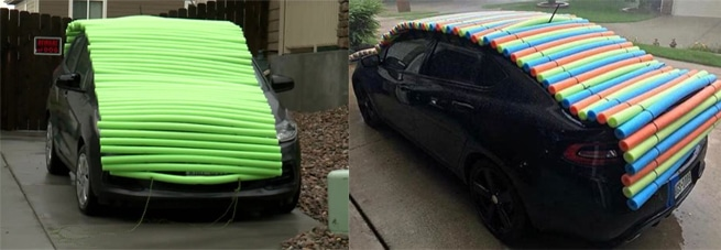 Crazy DIY pool noddle solution on how to protect your car