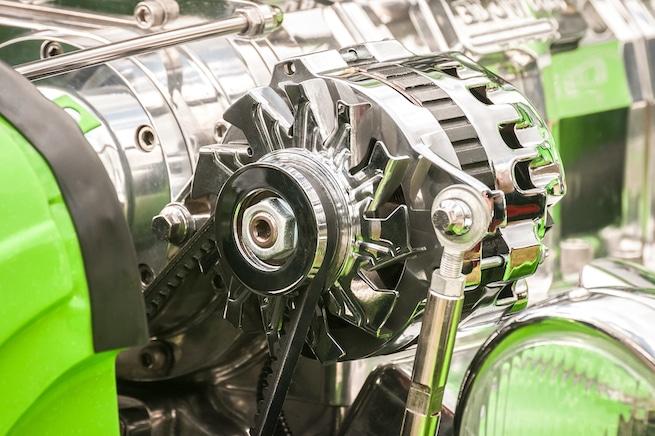 Chromed vehicle alternator in a hot-rod.