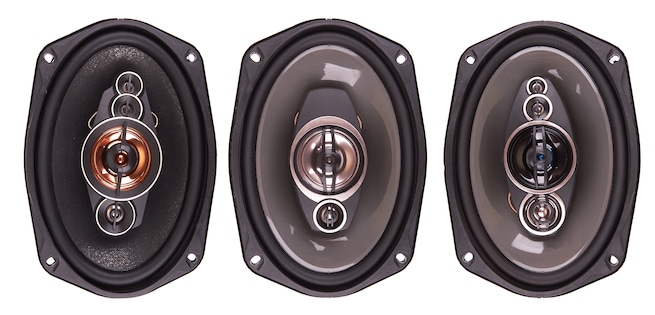 Car speakers isolated on white background