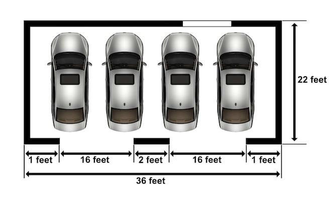 Four car garage dimensions