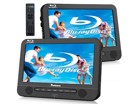 NAVISKAUTO 10.1 Inch Blu Ray Dual Car DVD Players with Rechargeable Battery