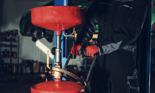 Perform an oil change done by a mechanic