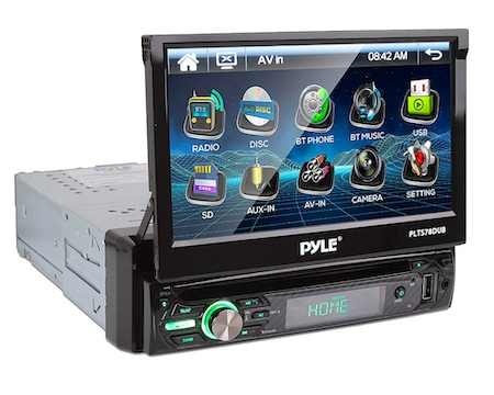Pyle Single DIN Head Unit Receiver - In-Dash Car Stereo Touchscreen Display