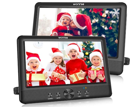 WONNIE 10.5 Inch Two DVD Players Dual Screen Portable Twins CD Player for Car