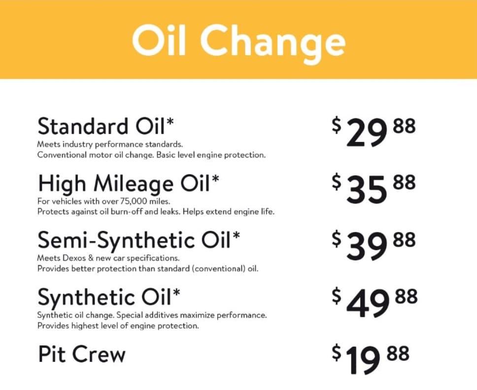 Walmart Oil Change Price Chart